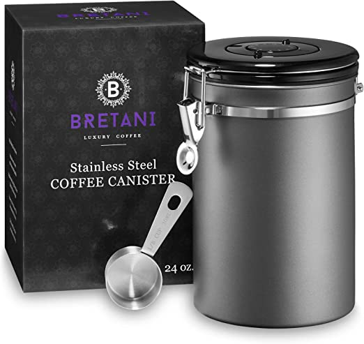 Bretani 24 oz. Stainless Steel Coffee Canister & Scoop Set - Large Airtight Kitchen Storage Container for Storing Beans & Grounds - Dark Gray