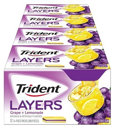 Amazoncom Trident Layers Sugar Free Gum Grape Lemonade 14 Piece