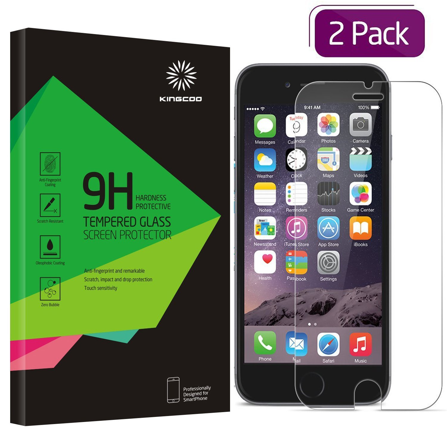 """Iphone 6S Screen Protector 2 Pack Kingcoo Iphone 6 4.7"""" Tempered Glass Screen.. 14"""