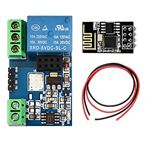 DAOKI ESP8266 5V WiFi Relay Module for Arduino Smart Home Automation System with ESP-01 Wireless Transceiver Board, 24AWG Wire