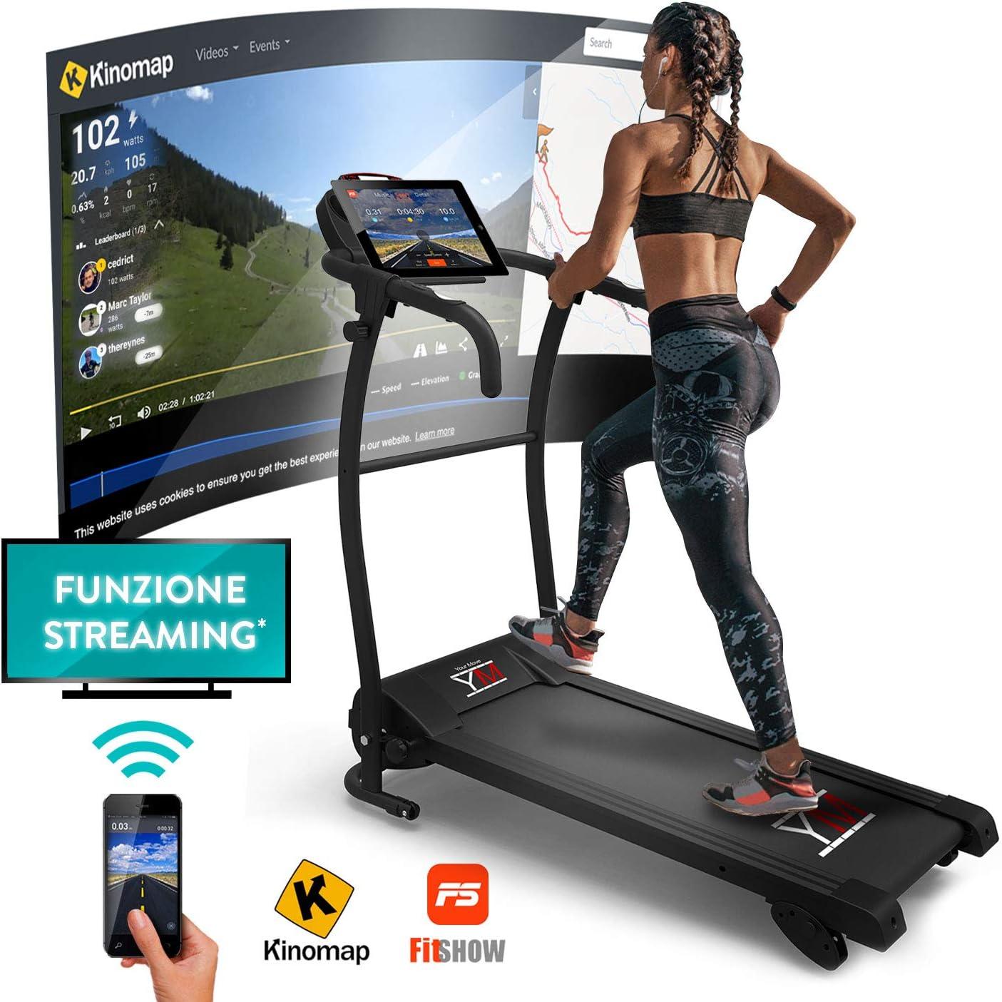 YM Fitness Cinta de Correr Plegable de Alta-Velocidad Kick Silenciosa | 10 Km/h + 3 Inclinación | Consola Digital | App Kinomap + Fistshow + Bluetooth + Sensores de Frecuencia Cardíaca