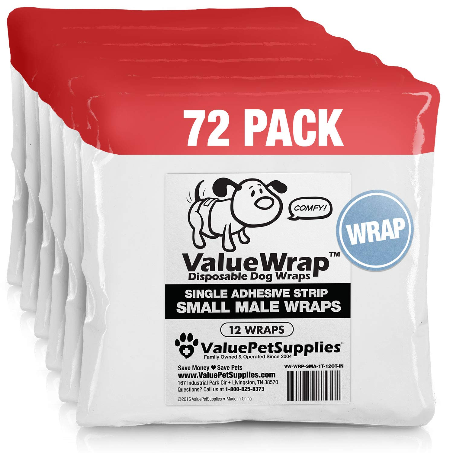 ValueWrap Disposable Male Dog Diapers, 1-Tab Small, 72 Count - Absorbent Male Wraps for Incontinence, Excitable Urination & Travel | Fur-Friendly Fastener | Leak Protection | Wetness Indicator by ValueWrap