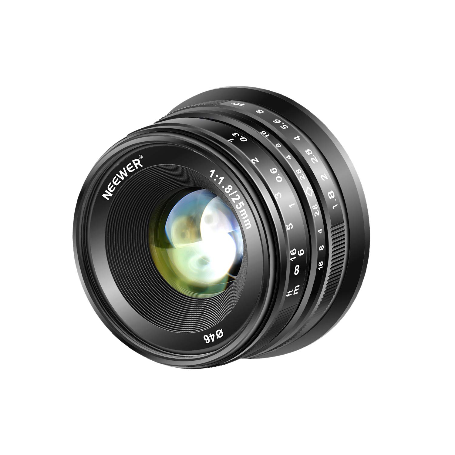 Neewer 25mm f/1.8 Manual Focus Prime Fixed Lens for Fujifilm APS-C Digital Mirrorless Cameras XPro2 XE3 XH2 X100F X100T X100S XH1 XF2 XPro1, All Metal Construction (Black) by Neewer