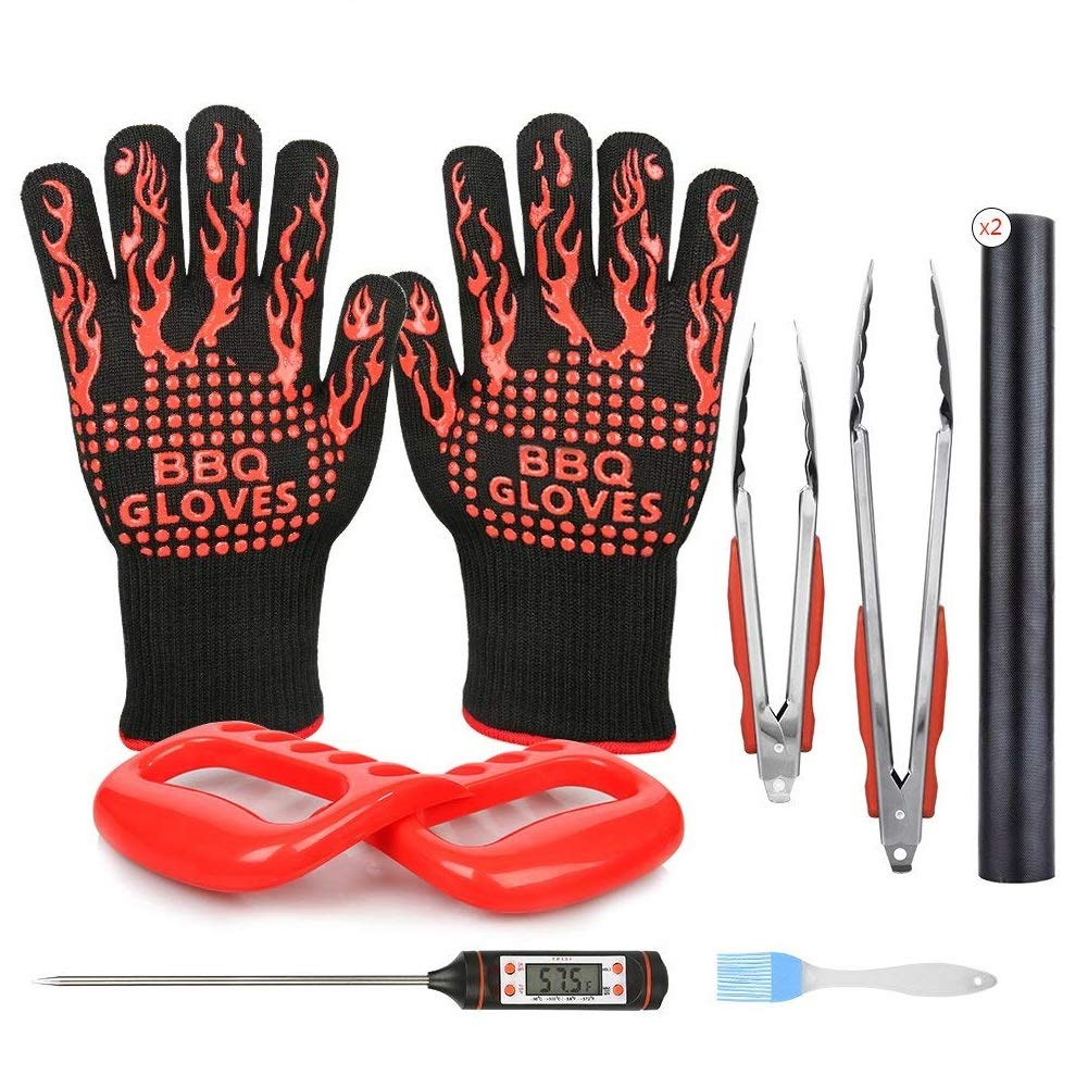 BBQ Tools Set 10 PCS, BBQ Gloves Meat Claws with 1xMeat Thermometer, 2xBBQ Grill Mat 1xBasting Brush 2xSilicone Tongs - For Indoor & Outdoor Cooking Barbecue Use CUNXIA