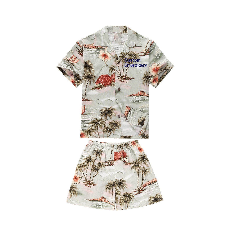 Made in Hawaii Luau Aloha Shirt and Shorts Boy Cabana Set Houses Palms Flowers Grey