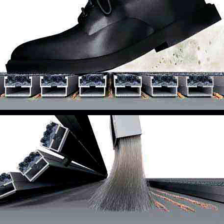 Gr/ö/ße:600 x 400 mm EMCO Eingangsmatte DIPLOMAT Rips hellgrau 22mm ALU Rahmen Fu/ßmatte T/ürmatte Schuhabstreifer