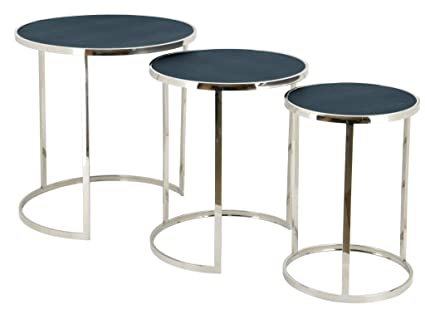 Empire Art Direct Metallic Shagreen Leather Set Of 3 Nesting Console Tables,  24 In.