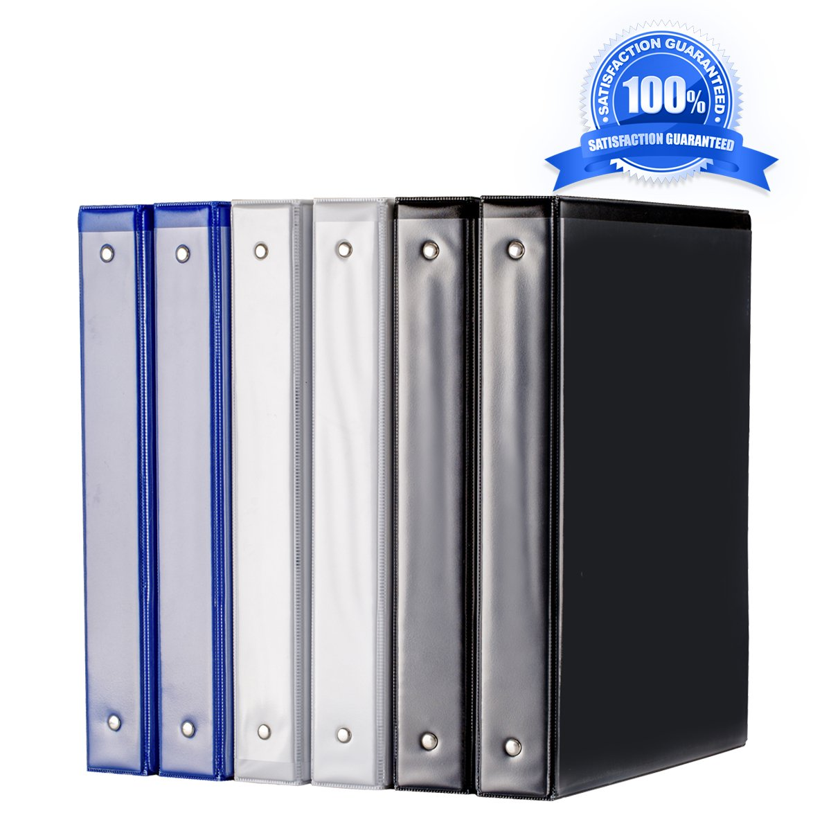 Binder, 1 inch Binders 3 Ring, Durable View Binder, Assorted color Binders(White/Black/Blue), 6pcs/pack