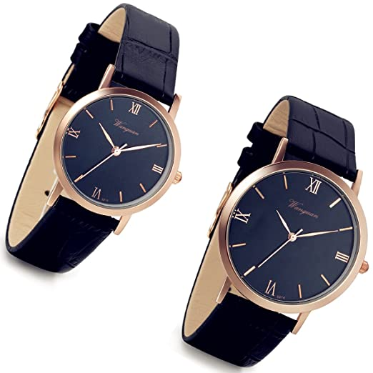 His And Hers Watch Sets >> Couple Watches Sets Men And Women 2pcs Romantic Rose Gold Tone Black Leather Watch For His And Her Lovers Valentine S Day Anniversary Gift