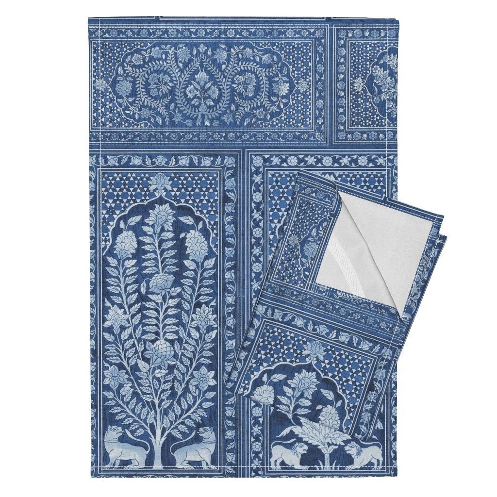 Wood Panels Blue Renaissance Tudor Animal Tree Tea Towels Nonsuch Palace Wood Panels ~ by Peacoquettedesigns Set of 2 Linen Cotton Tea Towels