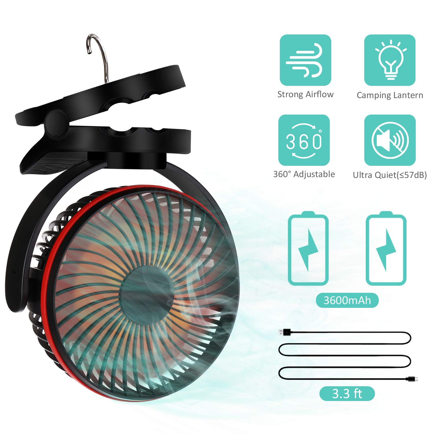 Battery Operated Clip Fan with Hanging Hook, Portable USB Desk Fan With Bright LED Light, Camping Lantern Fan, Rechargeable 3600mAh Battery Fan,Wall Fan, Mini Quiet Fan for Stroller Home Office Travel by COMLIFE