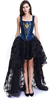 4ab7b5b91f7 Kimring Women s Victorian Floral Overbust Corset Dress Skirt Set with Straps