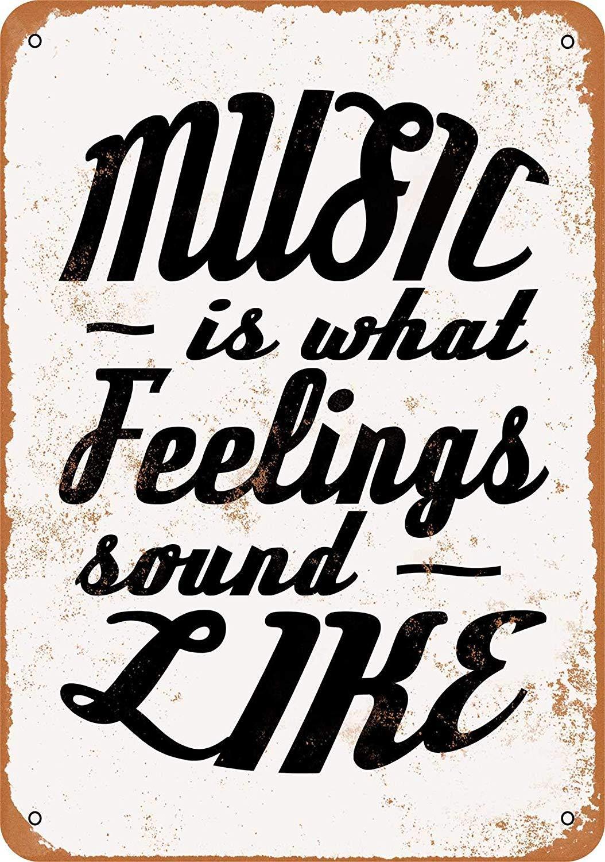 Music is What Feelings Sound Like Targa in Metallo Ferro Dipinto placca di Metallo Vintage Decorazione della Parete Poster per Cafe Restaurant Bar Dormitorio