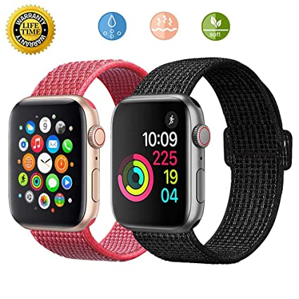 Loxdn Compatible for Apple Watch Band 38mm 40mm 42mm 44mm, Replacement Wristbands Nylon Sport Loop Compatible iWatch Apple Watch Series 4/3/2/1 (Snow ...