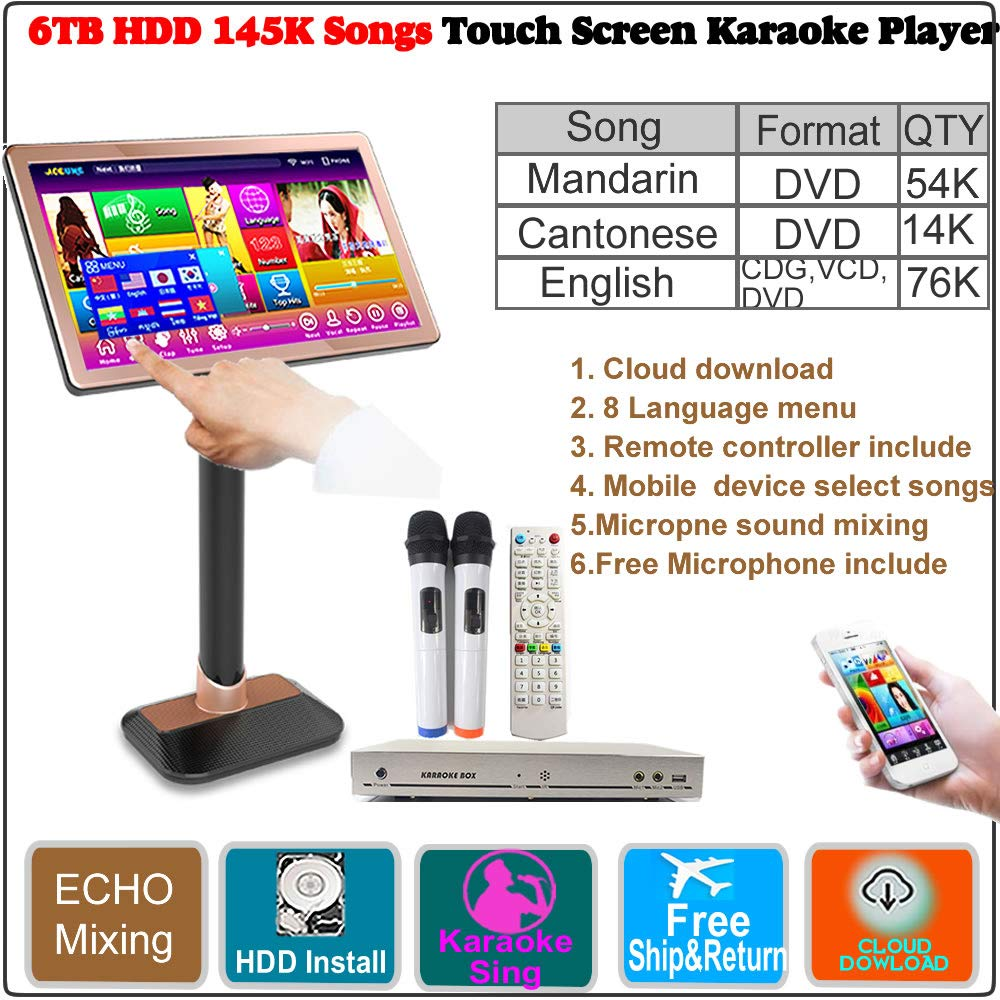 6TB HDD 145K Chinese Songs(Mandarin,Cantonese),English CDG,VCD, DVD Songs.22''Touch Screen Karaoke Player,ECHO Mixing, Cloud Download, Free Microphone and Remote Controller Included