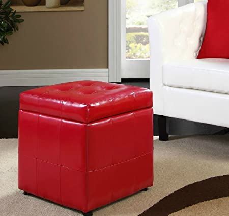 Leather Storage Coffee Table Ottoman Tufted Modern Footstool Chair Furniture Red