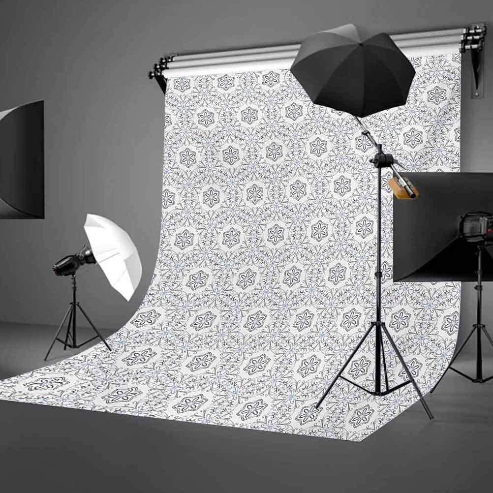 Scroll Style Pattern with Curled Leaf Motifs Abstract Modern Mosaic Tile Background for Kid Baby Boy Girl Artistic Portrait Photo Shoot Studio Props Video Drape Vinyl 10x15 FT Photography Backdrop