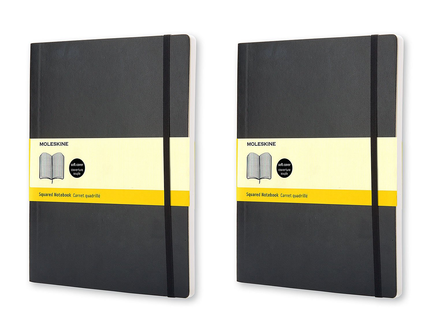 Pack of 2 Moleskine Classic Notebook, Extra Large, Squared, Black, Soft Cover (7.5 x 10) (Classic Notebooks)