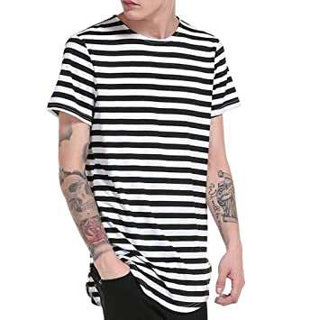 Amazon.com   Snowfoller Mens Striped T-Shirts Casual Slim Fit Short Sleeve  Tee Tops Summer Fashion Basic Top Cotton Crew Neck T Shirt   Beauty 2b5bb394a