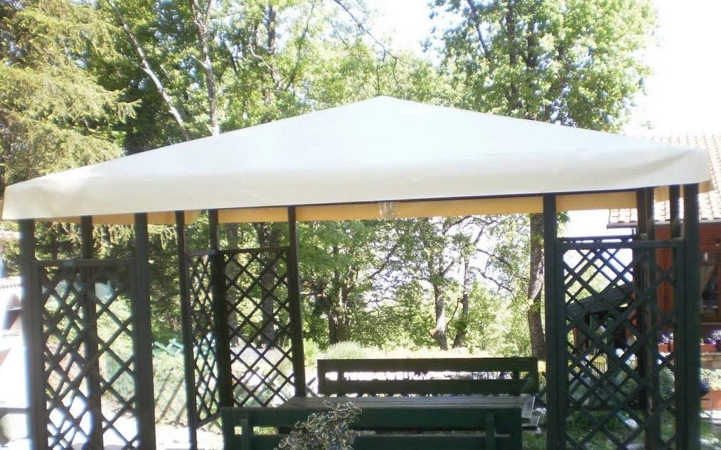 Avorio TUTTOPERGOLE Telo in PVC di Ricambio Tetto Gazebo 3X3 m