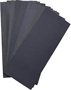 Abrasive Dry Wet Waterproof Sandpaper Sheets Assorted Grit of 400/ 600/ 800/ 1000/ 1200/ 1500 for Furniture, Hobbies and Home Improvement (12 Sheets)