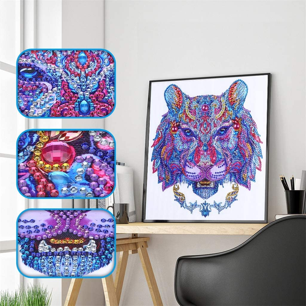 CaptainCrafts 5D Diamond Painting by Number Kits for Adults Beginner Kids Diamond Art DIY Special Shape Rhinestones Colourful Animal Flower 11.9X11.9 Inch Butterfly