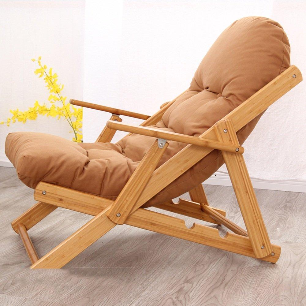 QFFL ラウンジチェアポータブル怠惰な椅子折りたたみチェアソファリクライニング家ホームアダルトラウンジチェア アウトドアスツール (色 : Brown) B07FY4ZV2Q  Brown