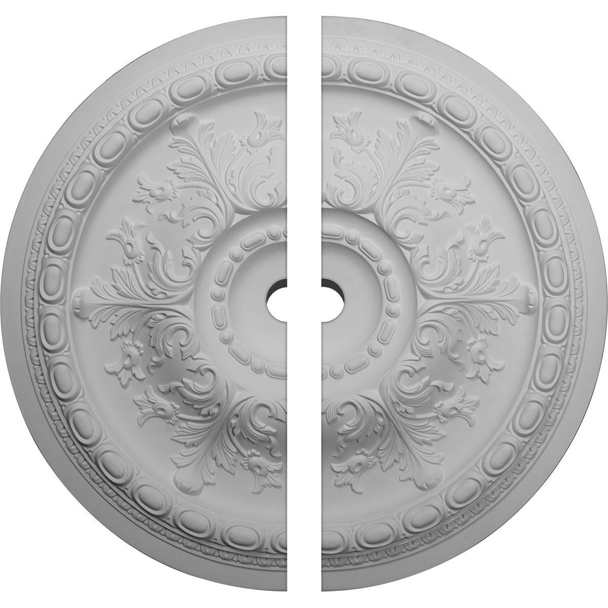 Ekena Millwork CM38OS2-03000 38 3/8''OD x 3''ID x 2 7/8''P Oslo Ceiling Medallion, Fits Canopies up to 7-5/8'', 2 Piece