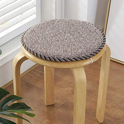 Round Dining Chair Cushions,Comfort Flax Chair Pads with Ties Non Slip Seat Cushion for Kitchen Patio Garden Home G 30x30x2.5cm(12x12x1inch): Home & Kitchen