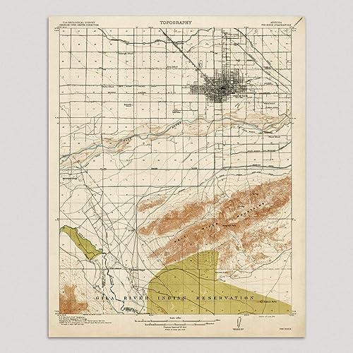 Map Of Arizona Phoenix.Amazon Com Old Phoenix Map Art Print Arizona 1914 Vintage Usgs