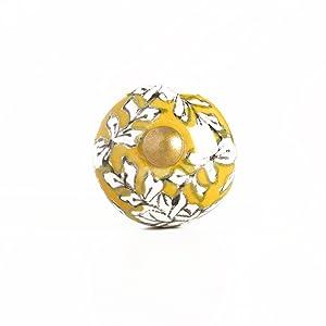 Yellow Floral Mini Ceramic Knobs