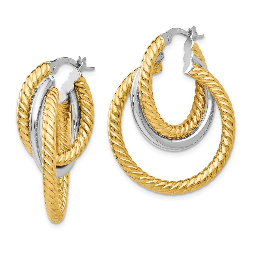Mia Diamonds 14k Gold Two-tone Polished and Textured Tri-Hoop Earrings