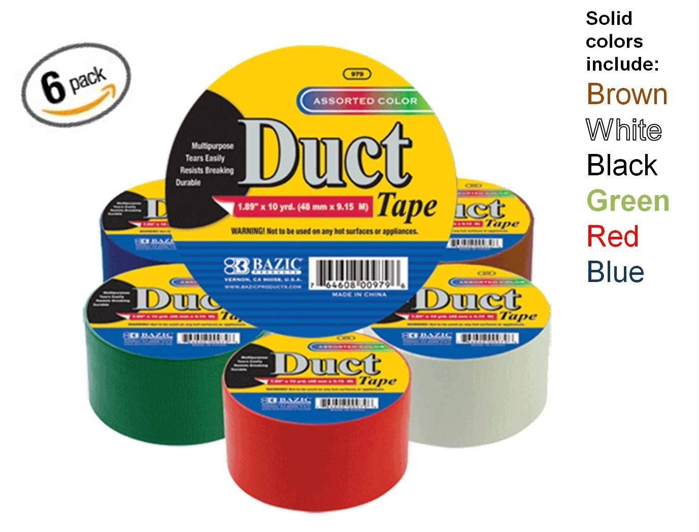 Assorted Colors Pack of 6 by Bazic Bazic 1.88 X 10 Yard Solid Colors Duct Tape