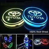 YenCar 車用 LED ドリンクホルダー レインボーコースター 車載 ロゴ ディスプレイライト LEDカーカップホルダー マットパッド (トヨタToyota)