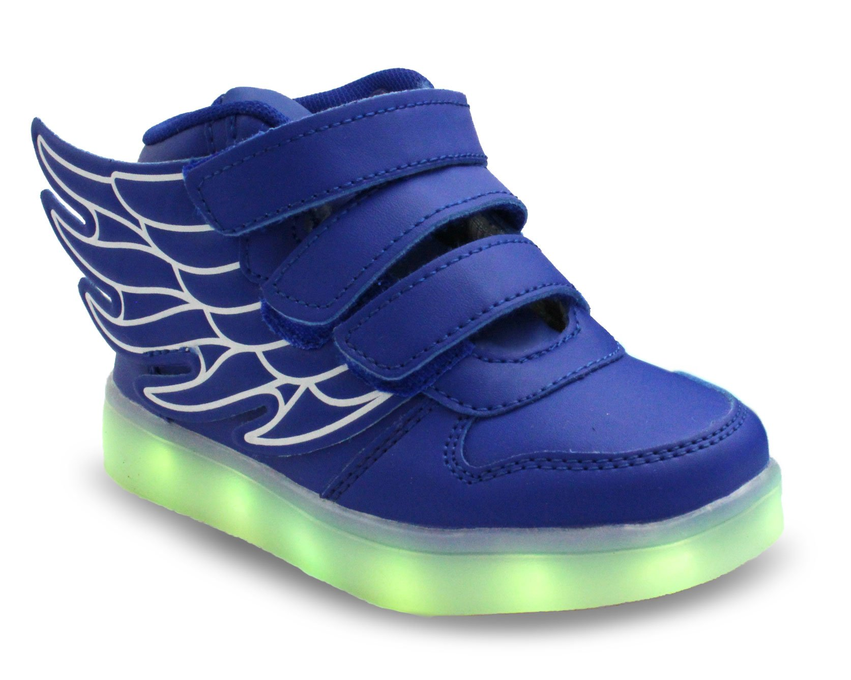 Transformania Toys Galaxy LED Shoes Light Up USB Charging High Top Wings Kids Sneakers (Blue) 10