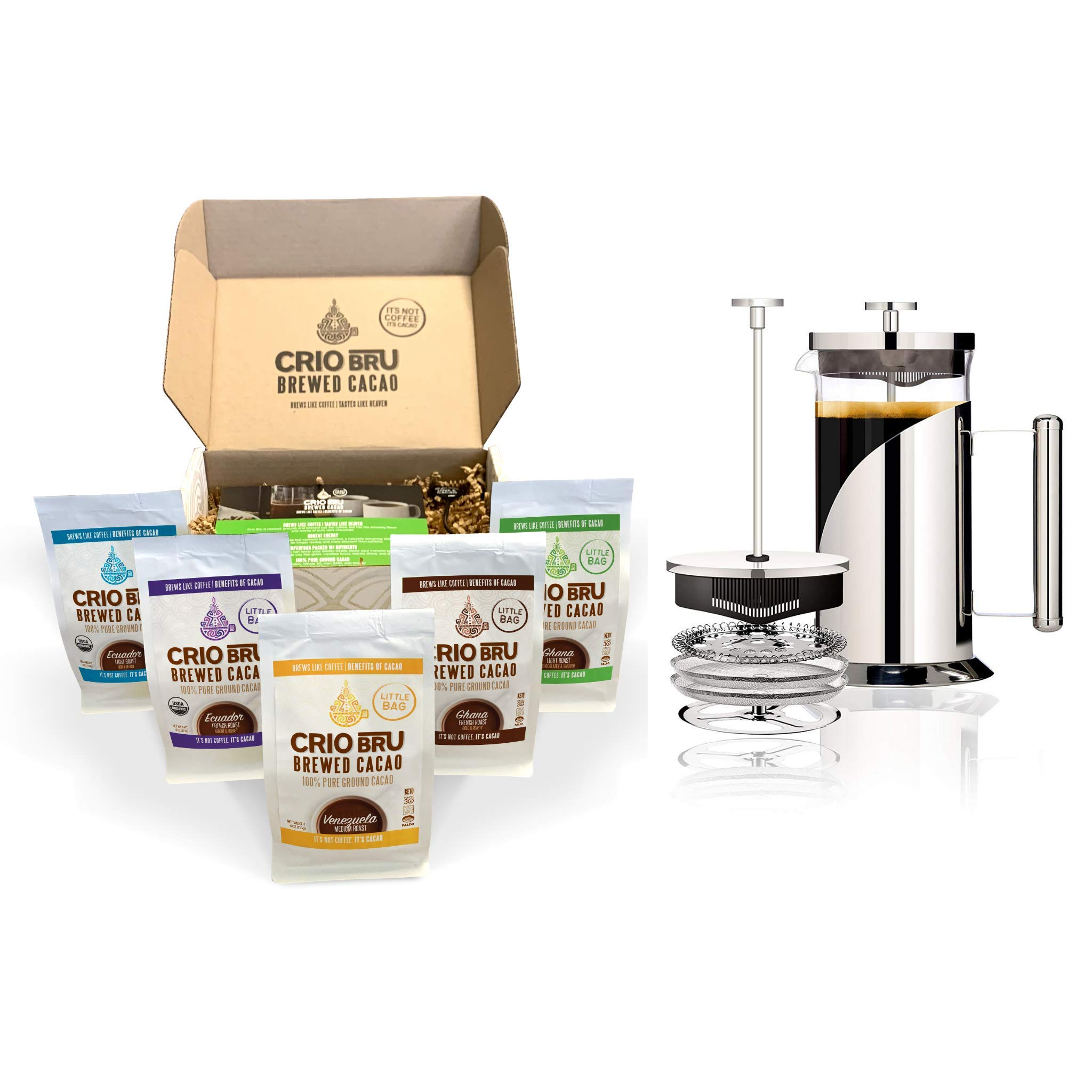 Sampler Starter Kit/ Set (5 Varieties) | Natural Healthy Brewed Cacao Drink | Great Substitute to Herbal Tea and Coffee | 99% Caffeine Free | Keto Whole-30 Honest Energy (Set (Incl. French Press)) by Crio Bru