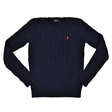 9d173f64f943b1 Ralph Lauren Women's Cable Knit Crew Neck Sweater at Amazon Women s  Clothing store: