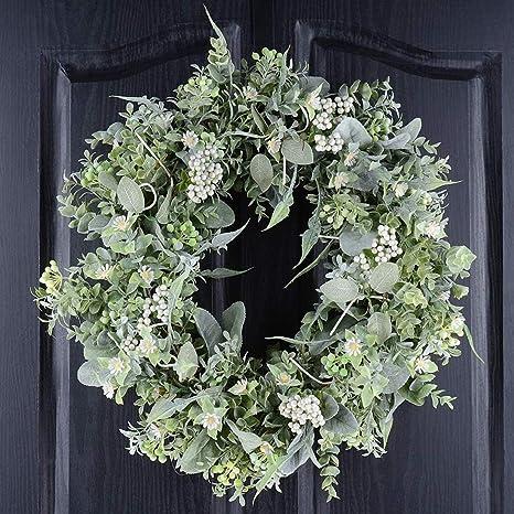 Amazon Com Qunwreath Eucalyptus Wreath For Front Door Handmade 19 Inch Green Leaves Wreath For Winter Farmhouse Wreath Grapevine Wreath Kitchen Dining