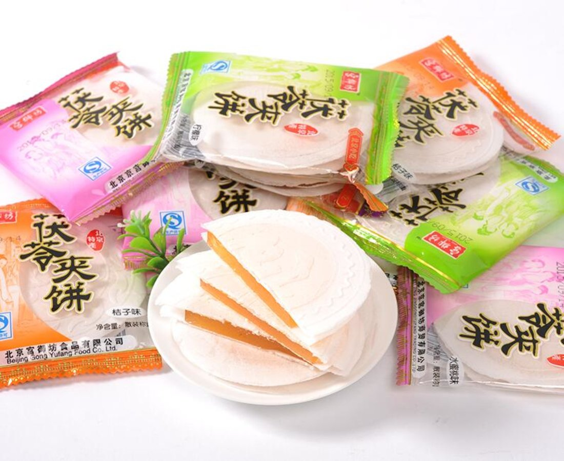 Beijing Specialty: Gong Yu Fang Traditional Pastry Tuckahoe Pie Originally a Palace Snack Assorted Flavors (Lemon, Hami Melon, Orange and Juicy Peach ) 400g/14.1oz
