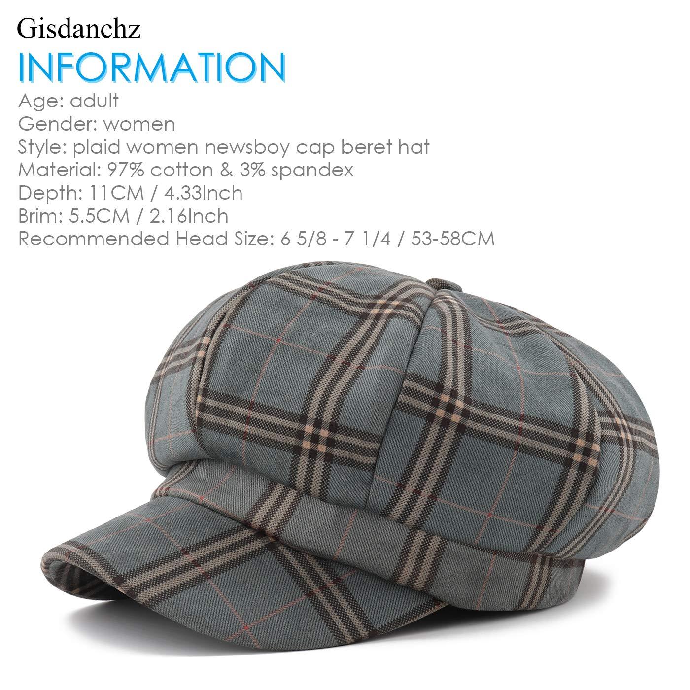 Gisdanchz Damen Schildm/ütze Baumwolle Newsboy Cap Beret Hat for Lady