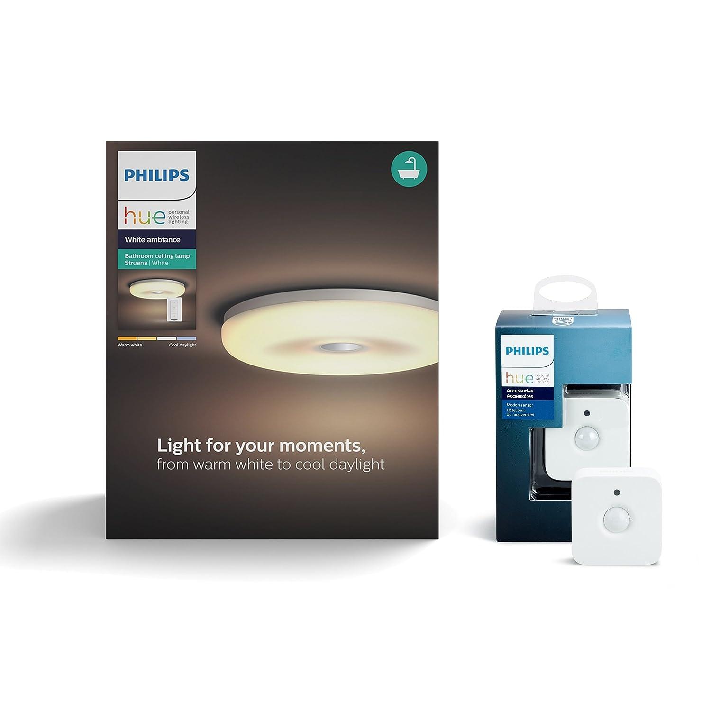 Philips Hue Plafón Struana - Sensor de movimiento incluido, Iluminación inteligente (ZigBee, LED integrado, 2400 lm) blanco (Compatible con Amazon Alexa, ...
