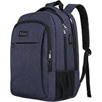 School Backpack, Slim High School College Student Laptop Rucksack with USB Charging Port, Anti Theft School Computer Backpack Bag, Water Resistant Student Daypack For Girl/Boy/Teenagers-Navy 15.6 inch