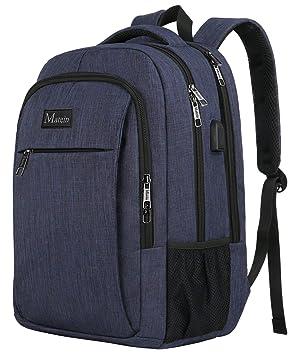 Mochila escolar, mochila para laptop Slim College con puerto de carga USB, mochila antirrobo