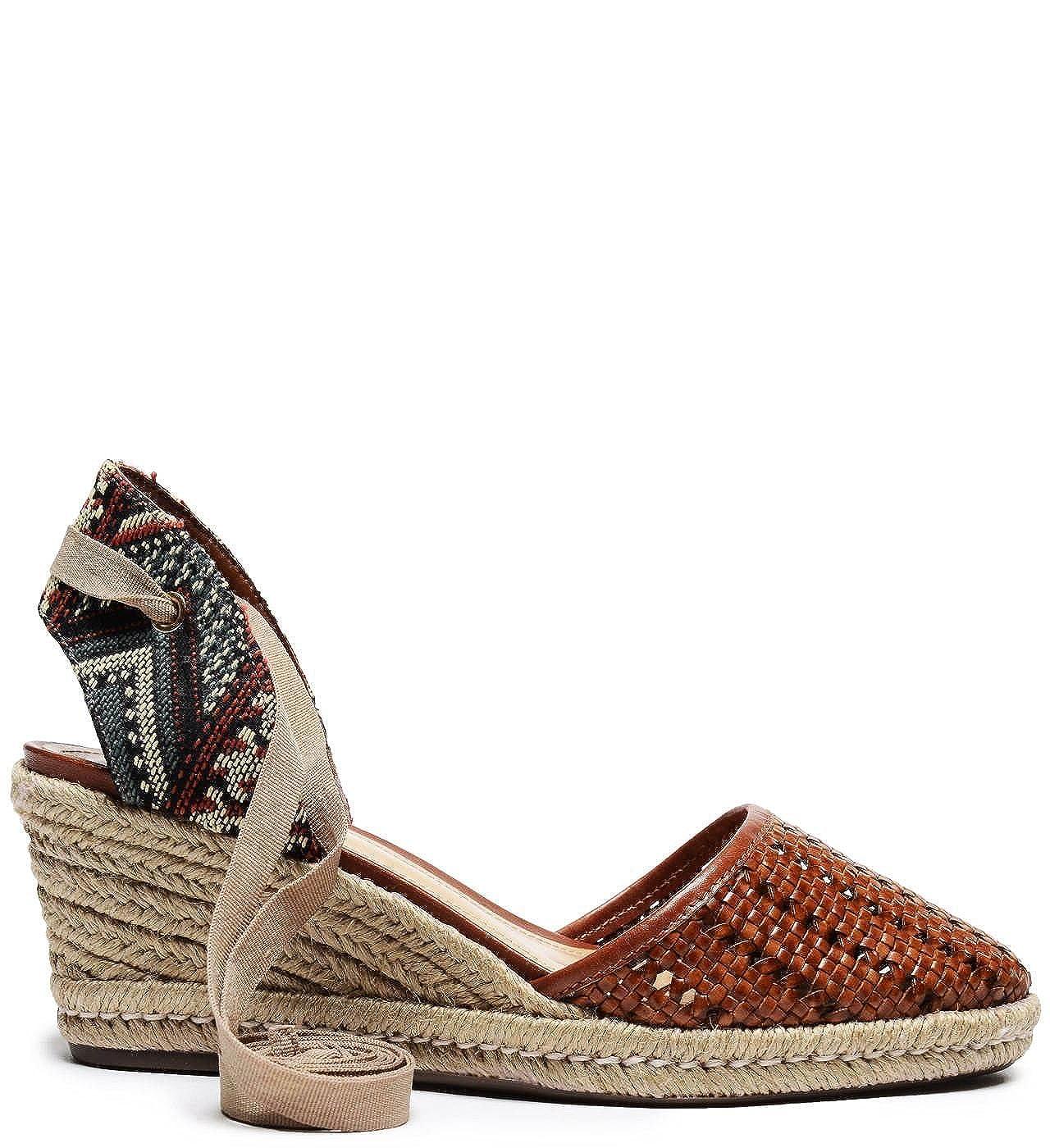 SCHUTZ Dieniffer Caramel Woven Leather Espadrille Mid Wedge Tie Up Sandal