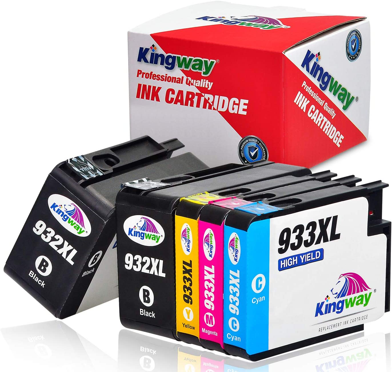 Kingway Compatible Ink Cartridge Replacement for HP 932XL 933XL Work with HP Officejet 6700 6600 7612 7610 6100 7110 7510 Printer 5 Pack(2 Black,1 Cyan,1 Magenta,1 Yellow)