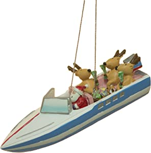 Cape Shore SS Santa and Reindeer Party Boat Christmas Ornament
