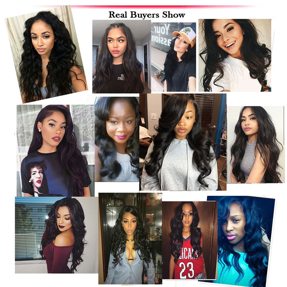 Amella Hair 10A Brazilian Body Wave Frontal(16 18 20+14 Frontal) Bundles with Frontal Ear to Ear Lace Frontal Closure with Bundles Brazilian Body Wave Frontal with Baby Hair Natural Black Color by Amella hair (Image #8)