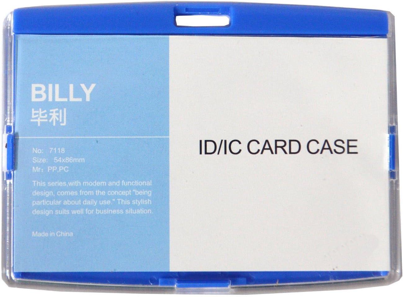 10 St/ück Ausweish/ülle mit Metallclip Kartenhalter Ausweishalter aus Hartplastik Werksausweis Sch/ülerausweis neu schwarz