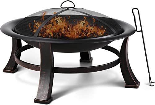 FIXKIT 30 Fire Bowl Outdoor Patio Fire Pit with Mesh Spark Screen Cover, BBQ Grill, Log Grate, Firepit Poker, Waterproof Cover, Wood Burning Stove for Backyard, Camping, Bonfire, Patio, Garden