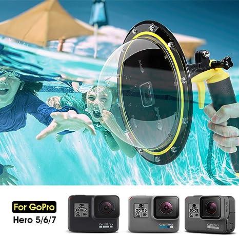Telesin Puerto de Domo para GoPro Hero 7/6/5 Black/2018, Alojamiento Impermeable Buceo Cubierta de Lentes para GoPro, GoPro Burbuja Agarre Flotante ...